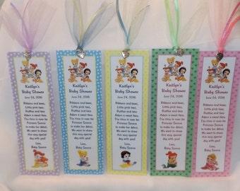 Baby Princess Ariel, Belle, Cinderella, Snow White Baby Shower Bookmark Favors