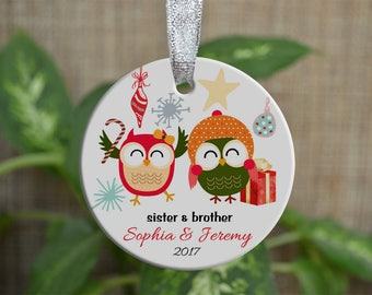 Personalized Christmas Ornament, Baby First Christmas ornament, Custom Ornament, Newborn baby gift, Sister & brother, Christmas gift. o038