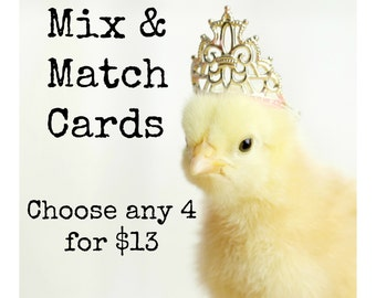 Your Choice Mixed Greeting Card Set Chick in Hat Photo Note Cards Envelopes (4)