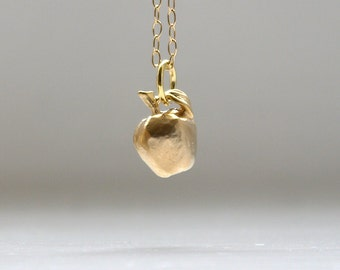 Apple necklace etsy apple necklace in gold aloadofball Image collections