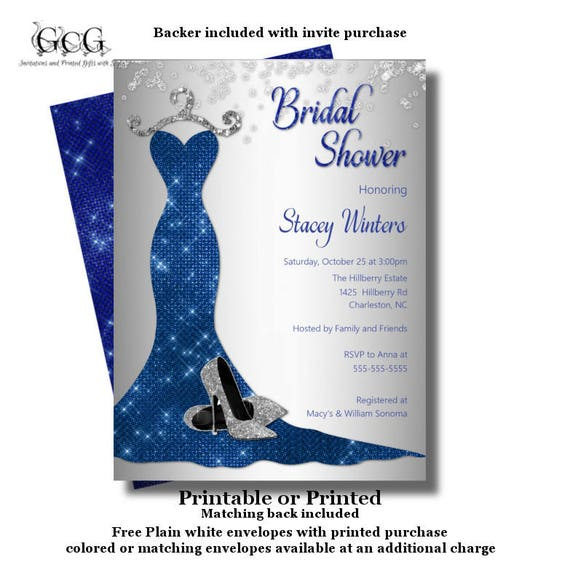 Royal Blue Bridal Shower Invitation Bling Bridal Shower