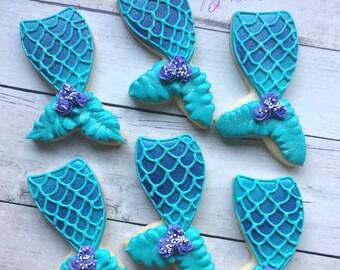 Mermaid tail sugar cookies • Mermaid birthday cookies • Mermaid party favors