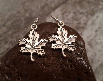 Maple Leaf Earrings, Silver Leaf Earrings, Antique Silver Earrings, Leaf Jewelry, Gift for her, jingsbeadingworld inspired by nature