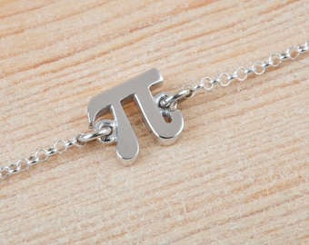 Pi Bracelet, Pi Symbol, Math Jewelry, 925 Sterling Silver