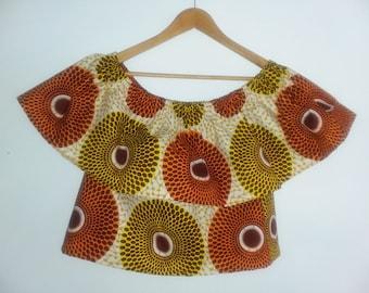 Crop Top Off Shoulder African Print - Choose a Print