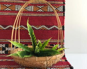 Vintage Woven Bamboo Basket with Handle | Easter Basket | Plant Basket | Display Basket