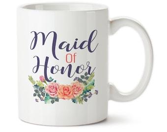 Coffee Mug, Maid Of Honor, Wedding Party Mug, Custom Wedding Gifts, Wedding Cup, Wedding Gift, Maid Of Honor Cup, Maid Of Honor Gift