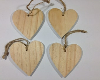 4 Wooden Hearts With A White Edge Christmas Hangers Decorative Hearts Valentine's Hearts Wedding Day Hearts