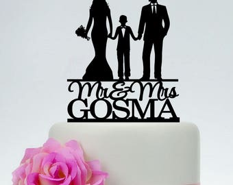 wedding cake topper couple with child cake topper family etsy 26310