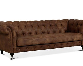 Luxury Churchill 2.5 , 3 Seater Chesterfield Style Sofa Bed Leather ,  Geanium , Vintage Brown