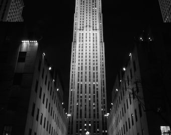 Rockefeller Center Christmas Photography Print -- In Black & White or Color