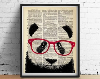 Smart PANDA Bear Wearing Glasses Art Print, Animal Illustration, Nursery Home Wall Decor, Black and White, Antique Book Page Dictionary Art