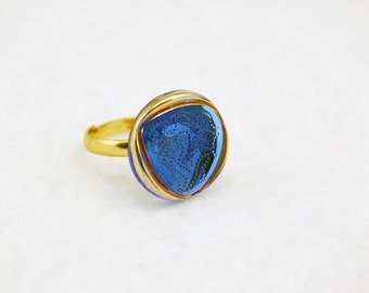 Blue & Gold Triangle Ring in Gold - Vintage Glass Ring, Adjustable Ring, Limited Edition