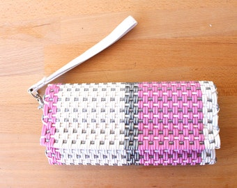 Pink, White & Silver Mexican Plastic / Leather Wallet