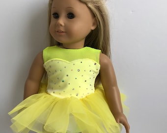 """Doll Dance Recital Outfit in Sunny Yellow - Fits an 18"""" American Girl Sized Doll"""