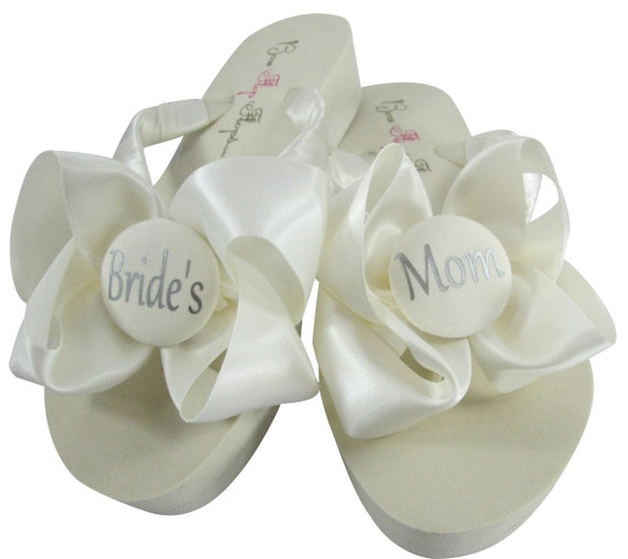 Flops sandals flop Black Mom Bride's flip wedge Bows Ivory Satin Flip platform with S7xqA