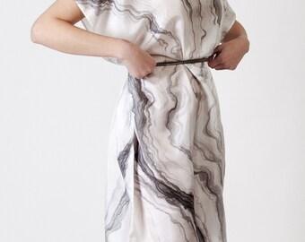Marble Dress, handpainted silk dress, white grey dress, oversized dress, formal dress, art dress, painted dress, summer dress, one size