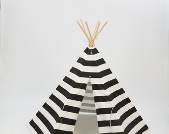 SALE!! Poles Included Teepee Play Tent black and natural wide stripe- 6 panel