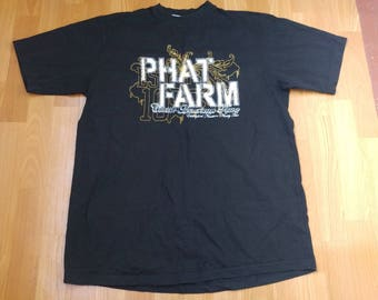 PHAT FARM t-shirt, vintage black cotton jersey 90s hip-hop clothing, 1990s hip hop shirt, og, gangsta rap, size L Large