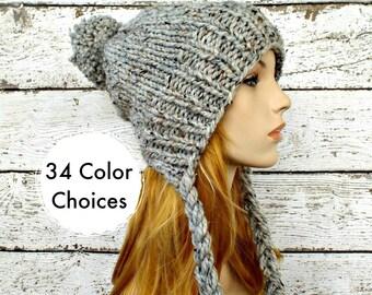 Grey Slouchy Hat Grey Womens Hat Grey Ear Flap Hat Grey Slouchy Beanie - Charlotte Slouchy Knit Hat - Grey Hat Winter Hat - 34 Color Choices