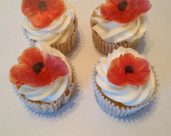 Edible Poppy Cupcake Toppers