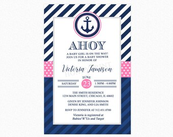 Nautical Baby Shower Invitation, Girl Baby Shower Invitation, Pink Blue White, Little Sailor, Personalized, Printable or Printed