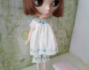 blythe dress set bloomers for pullip Neo blythe licca dal shibajuku hand embroidery clothes outfit clothing 1/6 scale vintage style