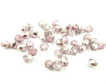 50 - Round Czech Fire Polished Faceted Glass Beads - Lilac Mirror - 4mm - FP0954 .