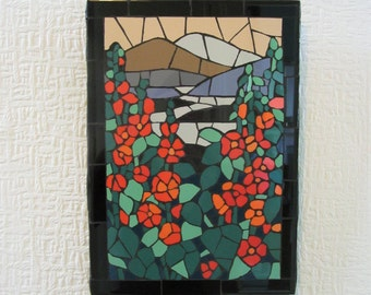 Mosaic wall art; handmade; landscape inspired by Louis C Tiffany
