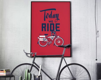 Bicycle Art Poster from ARTCRANK Denver 2015 • Screen Printed Bike Poster Pee-Wee Cruiser Typography Illustration Gift Decor Limited Edition