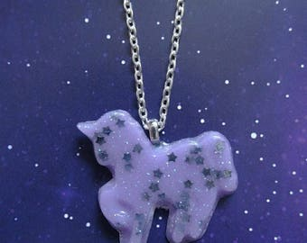 Unicorn Star Pastel Necklace Purple- Kawaii- Fairy Kei -Pastel Goth -Sweet Lolita-Gothic Lolita -Harajuku