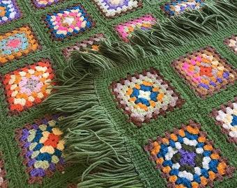Vintage Granny Squares Afghan Patchwork Throw Lap Blanket Colorful Fun 62 x 82