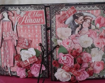 Graphic 45 Mon Amour scrapbook gatefold mini album