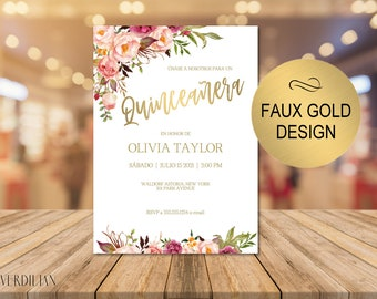 Blush Floral Gold Quinceanera Invitation Template- Rustic DIY Printable 15 Birthday Party Invitation - PDF-Instant Download| VRD315SDG