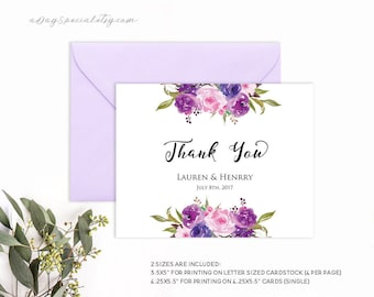 Lavender Thank You Card Template, Purple Lilac Watercolor Flowers, Printable Wedding Thank You Template, Vistaprint DIY PDF Instant Download