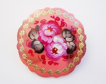 Сream color wooden painted brooch