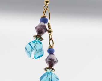 Modern Blue and Purple  Earrings