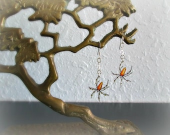 Banana Spider Earrings - Shrink Plastic and Sterling Silver