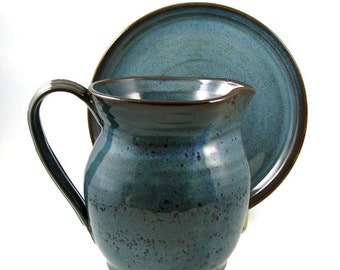 Custom Made Pitcher or Flagon for Your Wedding, Communion, New Minister / Handmade Stoneware Wheel Thrown Clay