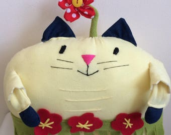 Coconut the Cat - Handmade cushion, Stuffed Animal, Cushion Cat, Plushy
