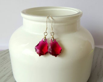 Ruby Swarovski Crystal Earrings, Sterling Silver Ear Wire, Baroque Pendant, Gift for Her