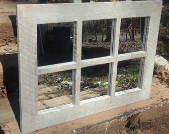 Rustic white mirror ,  Farmhouse mirror ,  rustic mirror ,  windowpane  white mirror