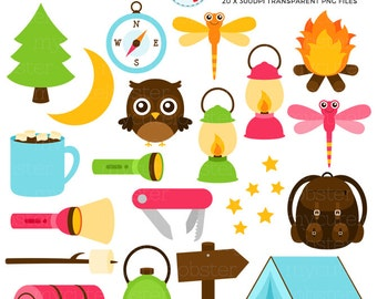 Camping Clipart Set - torch, lantern, tent, backpack, camp, clip art set, campfire - personal use, small commercial use, instant download