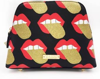 Glitter Tongue Large Cosmetic Bag