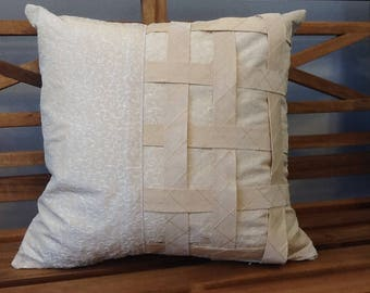 Cream Scroll Embroidery Weave Strip pattern Accent Pillow 15 X 15
