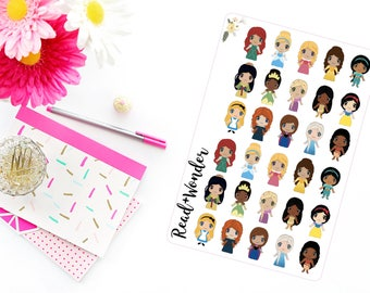 30 Cute Princess Stickers || Perfect for Erin Condren Life Planners, Planning and Scrapbooking.