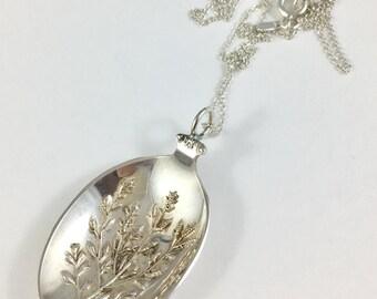 Nevada Necklace, Nevada Woman, Sage Brush, Flower Charm, Spoon Necklace, Gardener Gift Spoon Jewelry, Nevada Gift, Nevada Jewelry, wife gift