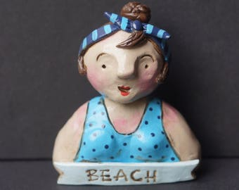 Vintage look Summer Beach Girl Folk Art sculpture Doll One of a Kind with Bathing Suit