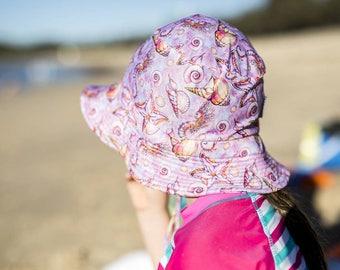 kids summer hat,girls bucket hat,swim hats,girls beach hat,shells swimwear,girls birthday gift,kids sun hats,kids swimwear,kids swim hats