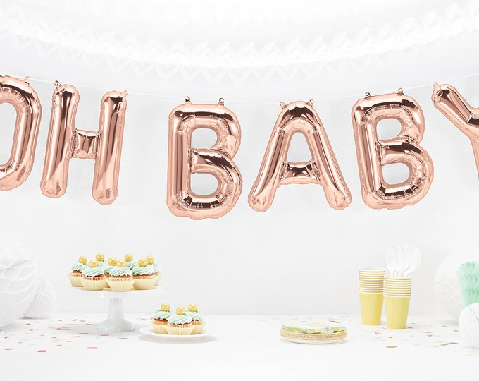OH Baby Balloons in Rose gold, Gold or Silver Foil, Baby Shower Balloons 14 inch  Balloons for a Baby Showers or Gender Reveal Party Decor